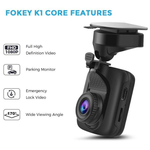 1080P FHD DVR Car Dashboard Camera Recorder with 170° Wide Angle Lens In Silver